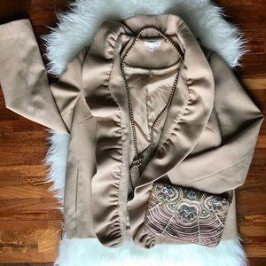 Jackets & Blazers - Bows & Sequins Nude Winter Coat